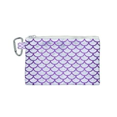 Scales1 White Marble & Purple Brushed Metal (r) Canvas Cosmetic Bag (small)
