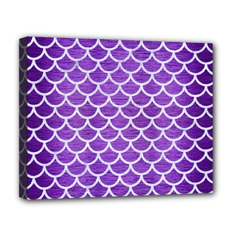 Scales1 White Marble & Purple Brushed Metal Deluxe Canvas 20  X 16