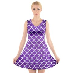 Scales1 White Marble & Purple Brushed Metal V Neck Sleeveless Dress