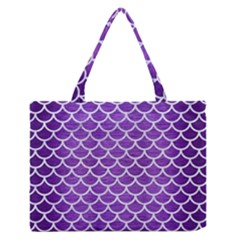 Scales1 White Marble & Purple Brushed Metal Zipper Medium Tote Bag