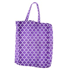Scales1 White Marble & Purple Brushed Metal Giant Grocery Zipper Tote