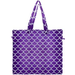 Scales1 White Marble & Purple Brushed Metal Canvas Travel Bag by trendistuff