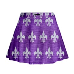 Royal1 White Marble & Purple Brushed Metal (r) Mini Flare Skirt