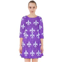 Royal1 White Marble & Purple Brushed Metal (r) Smock Dress