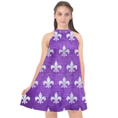 Royal1 White Marble & Purple Brushed Metal (r) Halter Neckline Chiffon Dress