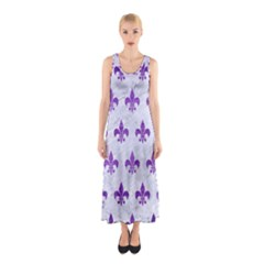Royal1 White Marble & Purple Brushed Metal Sleeveless Maxi Dress