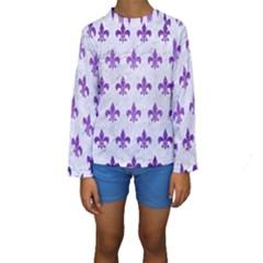 Royal1 White Marble & Purple Brushed Metal Kids  Long Sleeve Swimwear