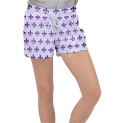 Royal1 White Marble & Purple Brushed Metal Women s Velour Lounge Shorts