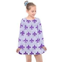 Royal1 White Marble & Purple Brushed Metal Kids  Long Sleeve Dress