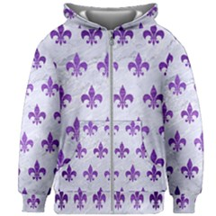 Royal1 White Marble & Purple Brushed Metal Kids Zipper Hoodie Without Drawstring