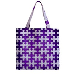 Puzzle1 White Marble & Purple Brushed Metal Zipper Grocery Tote Bag