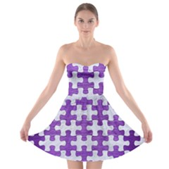 Puzzle1 White Marble & Purple Brushed Metal Strapless Bra Top Dress