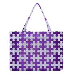 Puzzle1 White Marble & Purple Brushed Metal Medium Tote Bag by trendistuff
