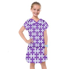 Puzzle1 White Marble & Purple Brushed Metal Kids  Drop Waist Dress