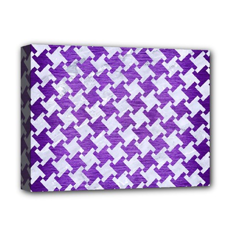 Houndstooth2 White Marble & Purple Brushed Metal Deluxe Canvas 16  X 12