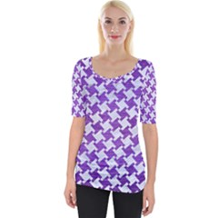 Houndstooth2 White Marble & Purple Brushed Metal Wide Neckline Tee
