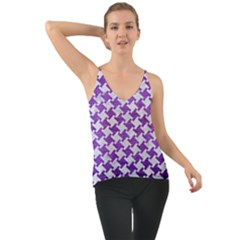 Houndstooth2 White Marble & Purple Brushed Metal Cami