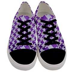 Houndstooth2 White Marble & Purple Brushed Metal Men s Low Top Canvas Sneakers