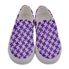 Houndstooth2 White Marble & Purple Brushed Metal Women s Canvas Slip Ons