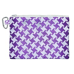 Houndstooth2 White Marble & Purple Brushed Metal Canvas Cosmetic Bag (xl)
