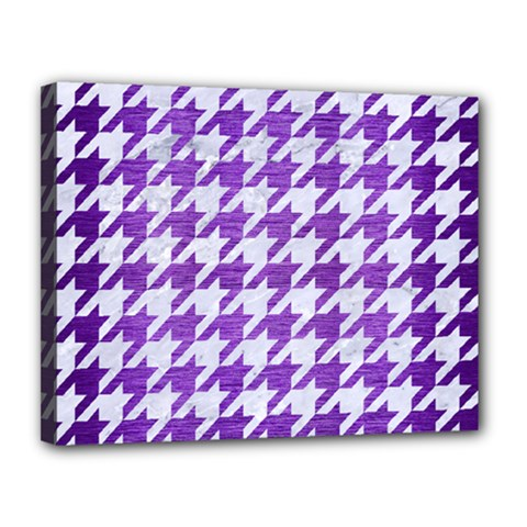 Houndstooth1 White Marble & Purple Brushed Metal Canvas 14  X 11