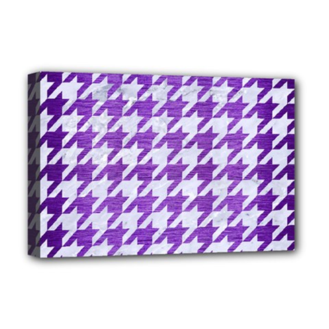 Houndstooth1 White Marble & Purple Brushed Metal Deluxe Canvas 18  X 12