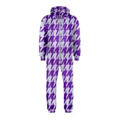 Houndstooth1 White Marble & Purple Brushed Metal Hooded Jumpsuit (kids)