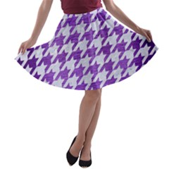 Houndstooth1 White Marble & Purple Brushed Metal A Line Skater Skirt