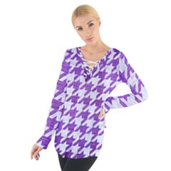 Houndstooth1 White Marble & Purple Brushed Metal Tie Up Tee