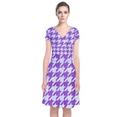 Houndstooth1 White Marble & Purple Brushed Metal Short Sleeve Front Wrap Dress