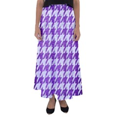 Houndstooth1 White Marble & Purple Brushed Metal Flared Maxi Skirt