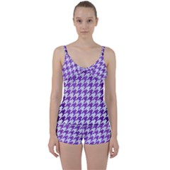 Houndstooth1 White Marble & Purple Brushed Metal Tie Front Two Piece Tankini