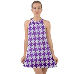 Houndstooth1 White Marble & Purple Brushed Metal Halter Tie Back Chiffon Dress