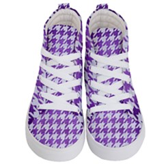 Houndstooth1 White Marble & Purple Brushed Metal Kid s Hi Top Skate Sneakers
