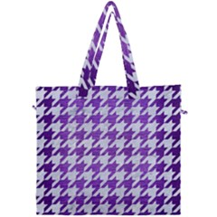 Houndstooth1 White Marble & Purple Brushed Metal Canvas Travel Bag by trendistuff