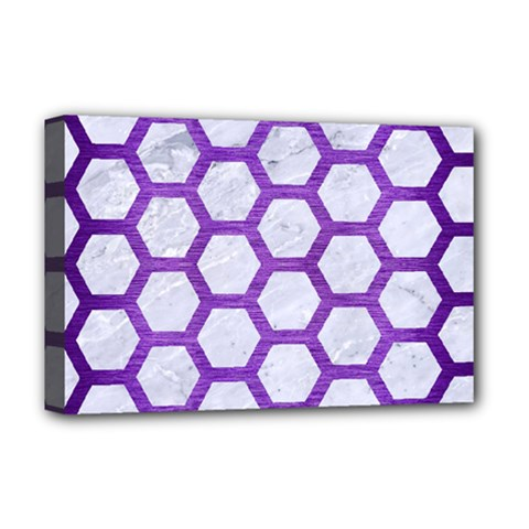 Hexagon2 White Marble & Purple Brushed Metal (r) Deluxe Canvas 18  X 12   by trendistuff