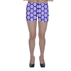 Hexagon2 White Marble & Purple Brushed Metal (r) Skinny Shorts