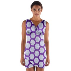 Hexagon2 White Marble & Purple Brushed Metal (r) Wrap Front Bodycon Dress