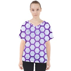 Hexagon2 White Marble & Purple Brushed Metal (r) V Neck Dolman Drape Top