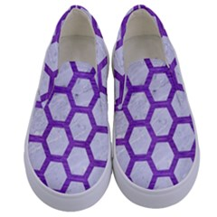 Hexagon2 White Marble & Purple Brushed Metal (r) Kids  Canvas Slip Ons