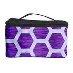 Hexagon2 White Marble & Purple Brushed Metal Cosmetic Storage Case