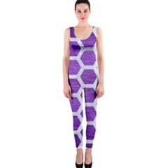 Hexagon2 White Marble & Purple Brushed Metal One Piece Catsuit