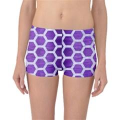 Hexagon2 White Marble & Purple Brushed Metal Boyleg Bikini Bottoms