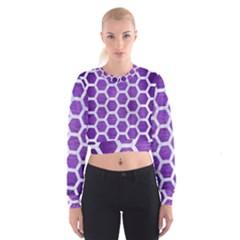 Hexagon2 White Marble & Purple Brushed Metal Cropped Sweatshirt