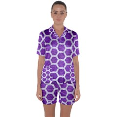 Hexagon2 White Marble & Purple Brushed Metal Satin Short Sleeve Pyjamas Set