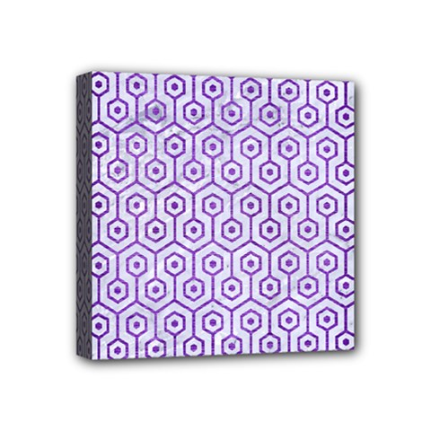 Hexagon1 White Marble & Purple Brushed Metal (r) Mini Canvas 4  X 4