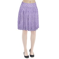 Hexagon1 White Marble & Purple Brushed Metal (r) Pleated Skirt