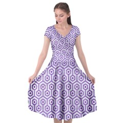Hexagon1 White Marble & Purple Brushed Metal (r) Cap Sleeve Wrap Front Dress