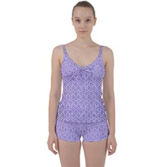 Hexagon1 White Marble & Purple Brushed Metal (r) Tie Front Two Piece Tankini