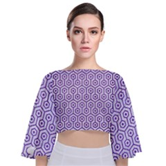 Hexagon1 White Marble & Purple Brushed Metal (r) Tie Back Butterfly Sleeve Chiffon Top